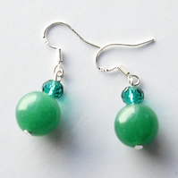 Green Jade Bead Earrings - UK Free Post