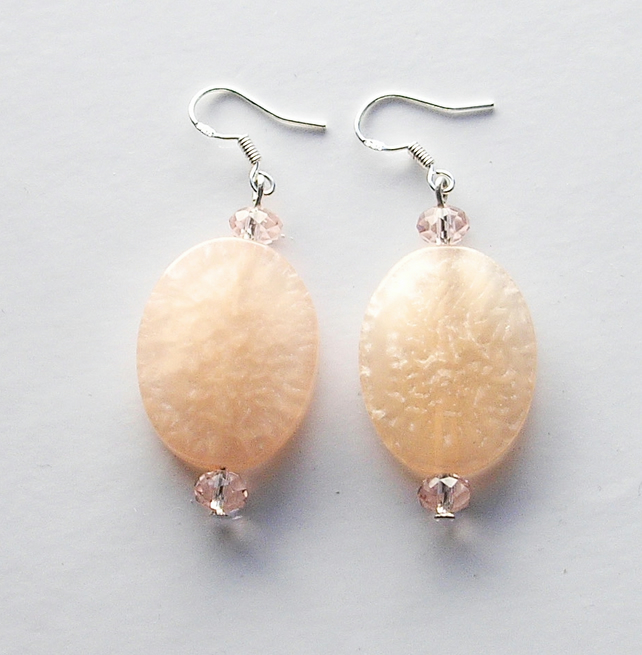 Large Pale Pink Bead Earrings