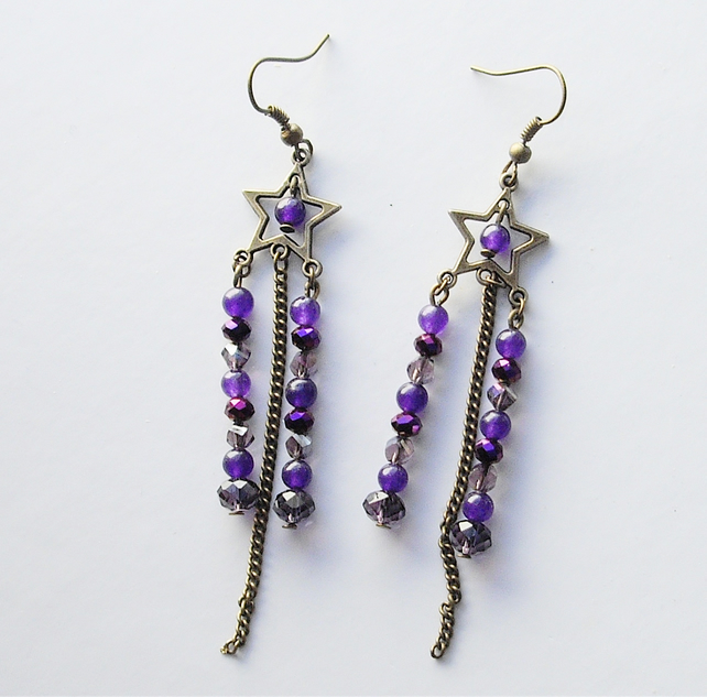 Bronze Star and Purple Bead Earrings