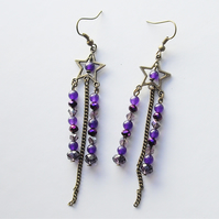 Bronze Star and Purple Gemstone and Bead Earrings - UK Free Post