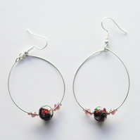 Cloisonne Bead Silver Plated Hoop Earrings - UK Free Post
