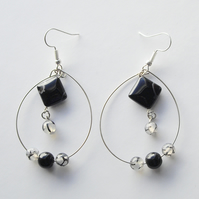 Black and White Agate and Obsidian Gemstone Bead Silver Plated Hoop Earrings