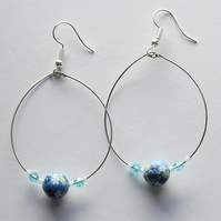 Blue Polymer Clay Bead Silver Plated Hoop Earrings