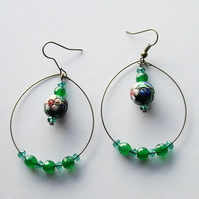 Cloisonne and Gemstone Bead Bronze Plated Hoop Earrings - UK Free Post