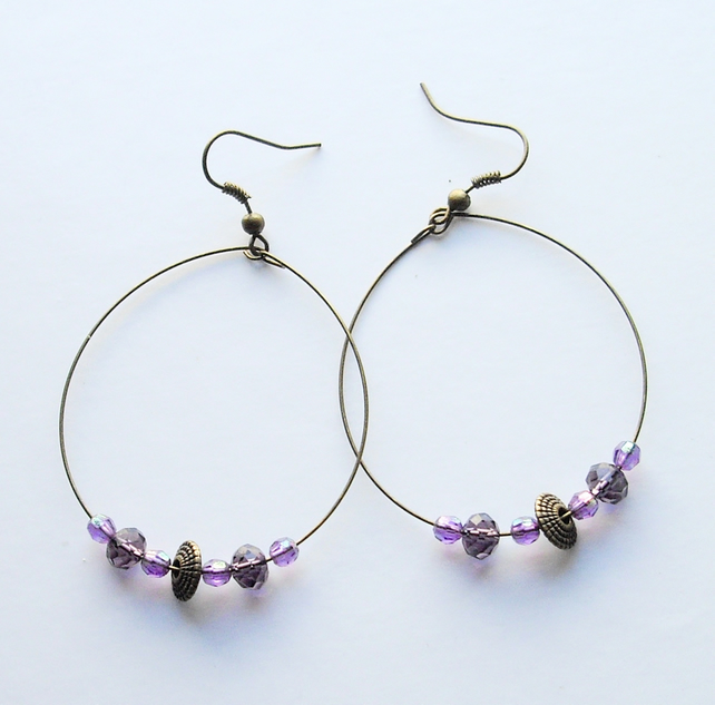 Purple Crystal Bead and Bronze Plated Hoop Earrings