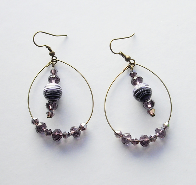 Purple and White Gemstone Bead and Bronze Plated Hoop Earrings