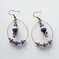 Purple and White Agate Gemstone Bead and Bronze Plated Hoop Earrings