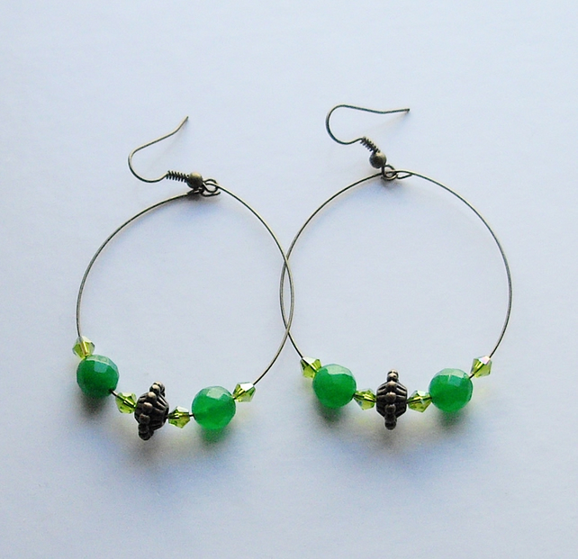 Green Gemstone Bronze Plated Hoop Earrings