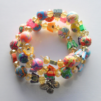 Butterfly and Polymer Clay Bead Memory Wire Bracelet