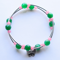 Pink Bead and Green Gemstone Wrap Bracelet - UK Free Post