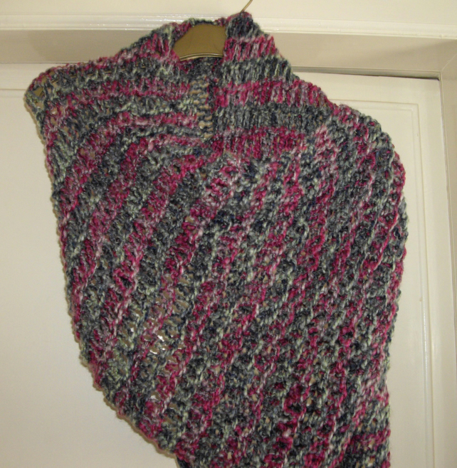 Wide loose knit multi-colour scarf