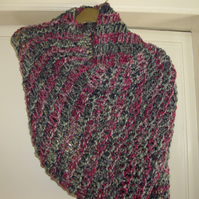 Wide loose knit multi-colour scarf - UK Free Post