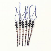 Set of 6 x Purple Hanging Icicle Decorations