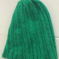 Green Rib Hand Knitted Hat - UK Free Post