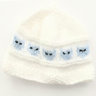 Cute White with Blue Cat Pattern Baby Hat 0-6 months - UK Free Post
