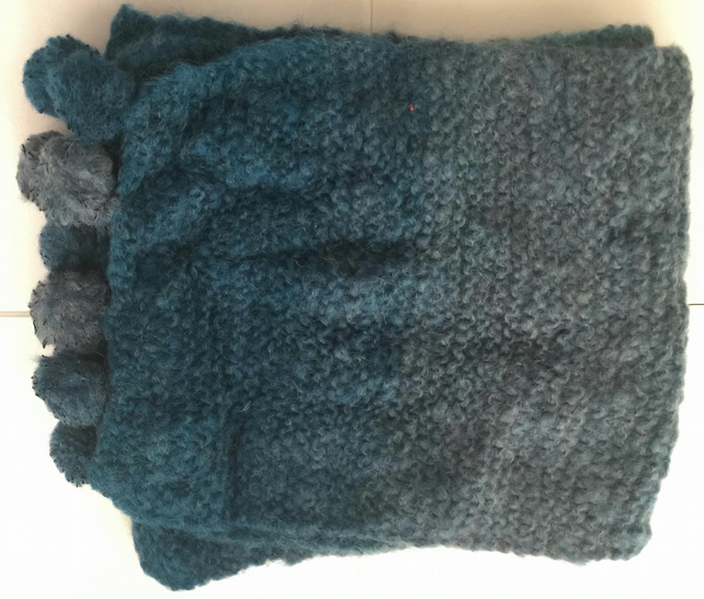 Pretty Blue Tonal Hand Knitted Scarf