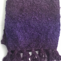 Pretty Heather and Plum Purple Tonal Hand Knitted Scarf - UK Free Post