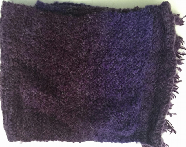 Pretty Heather Purple Tonal Hand Knitted Scarf