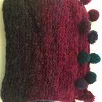 Pretty Tonal Hand Knitted Scarf - UK Free Post