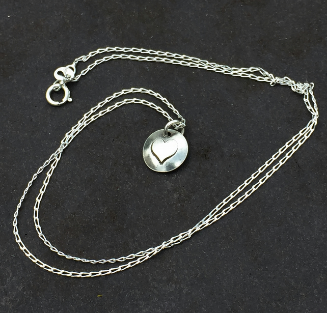 Hand Made Sterling Silver Heart Charm Necklace - UK Free Post