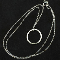 Handmade Sterling Silver Hoop Pendant Necklace