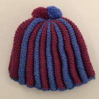 Burgundy and Blue Stripe Hand Knit Pom Pom Tea Cosy