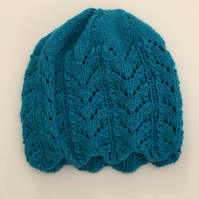 Turquoise Fancy Knitted Hat - UK Free Post