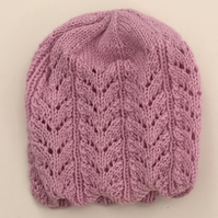 Lilac Fancy Knitted Hat