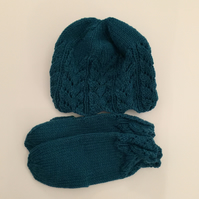 Turquoise Aran Hand Knitted Hat and Mitten Set