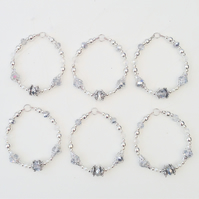Set of 6 Bead Silver Hanging Decorations - UK Free Post