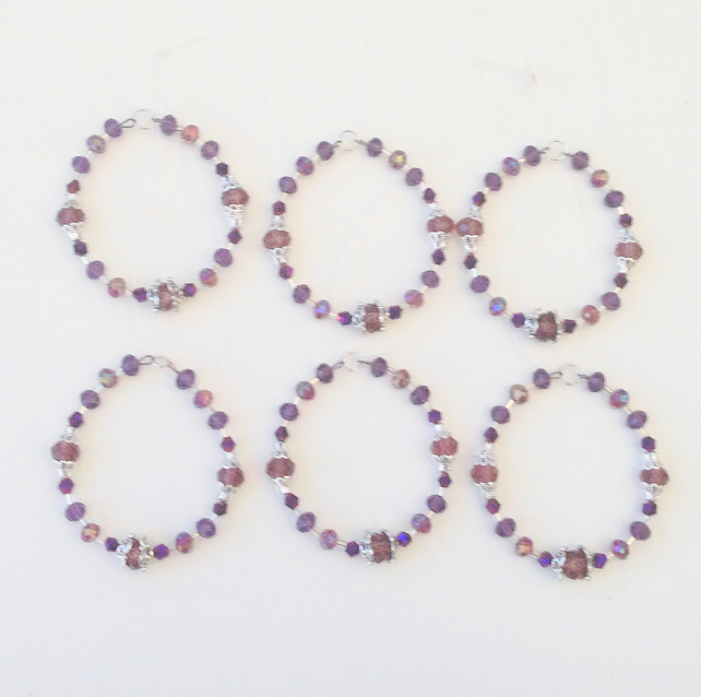 Set of 6 Bead Purple Themed Hanging Decorations