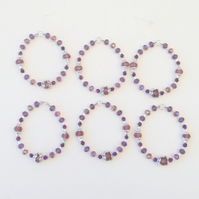 Set of 6 Bead Purple Themed Hanging Decorations - UK Free Post