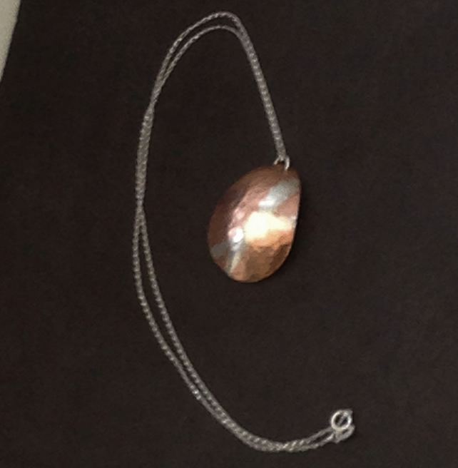 Handmade Copper Pendant Necklace With Sterling Silver Embellishment