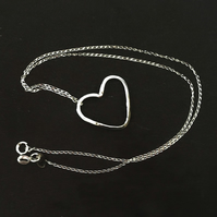 Handmade Sterling Silver Heart Pendant Necklace