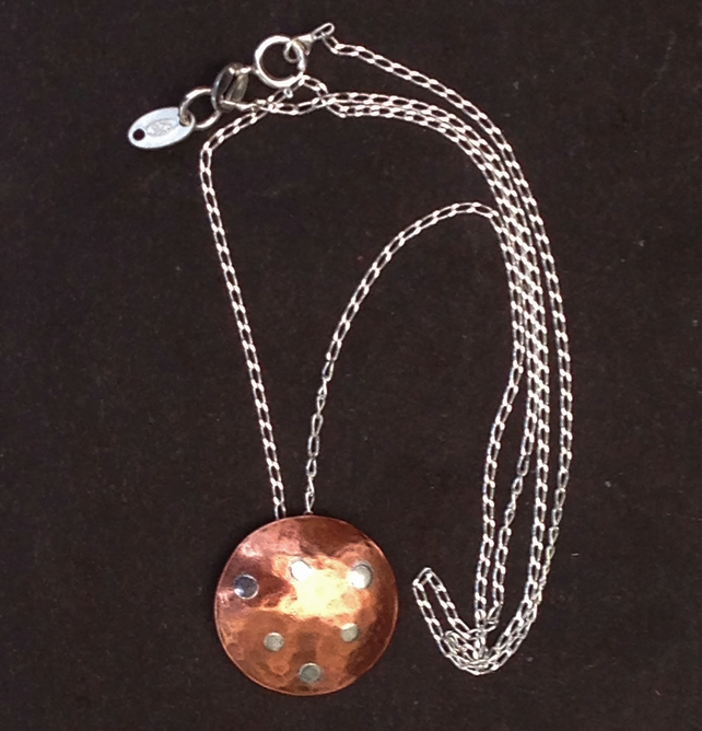 Handmade Copper and Sterling Silver Pendant Necklace - UK Free Post