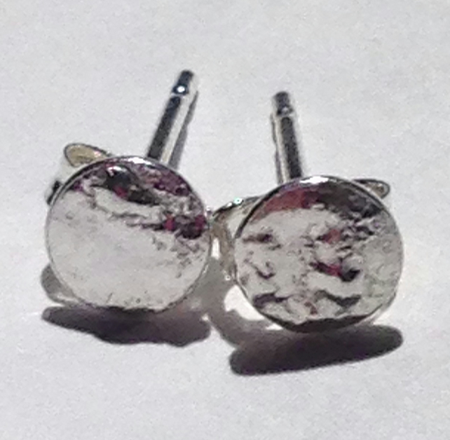 Handmade Reticulated Sterling Silver Stud Earrings