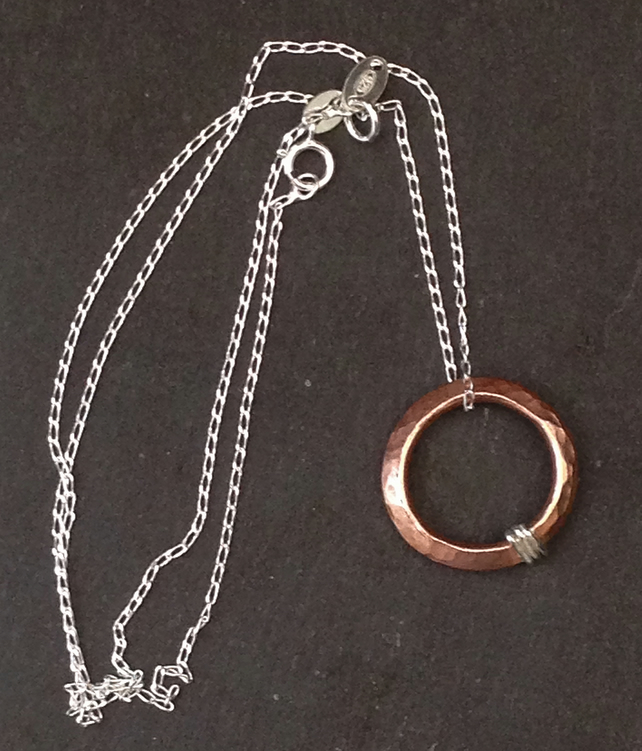 Handmade Copper and Sterling Silver Hoop Pendant Necklace