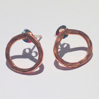 Handmade Copper Stud Earrings - UK Free Post