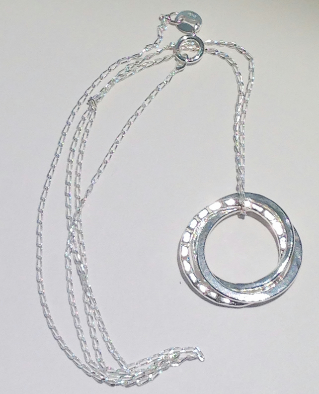 Handmade Sterling Silver Russian Wedding Ring Style Hoop Pendant Necklace