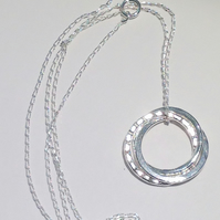 Sterling Silver Russian Wedding Ring Style Hoop Pendant Necklace - UK Free Post