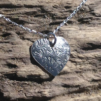 Hand Made Sterling Silver Small Heart Pendant - UK Free Post