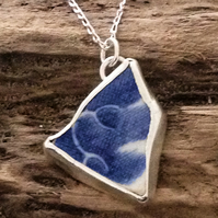 Hand Made Double Sided Sea Pottery Silver Pendant - UK Free Post