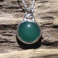 Green Aventurine Gemstone and Sterling Silver Pendant