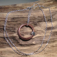 Handmade Copper and Sterling Silver Hoop Pendant Necklace - UK Free Post