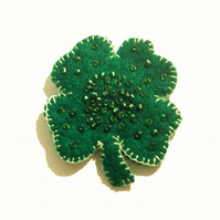 Beaded Lucky Shamrock Brooch