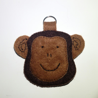 Cheeky Monkey Hand Stitched Felt Keyring - UK Free Post