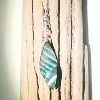 Turquoise Shell Leaf and Sterling Silver Pendant - UK Free Post