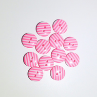 12 x Pink Candy Stripe Buttons