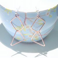 Hammered Copper Geometric Triangle and Square Earrings - UK Free Post