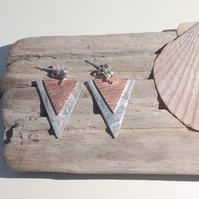 Copper with Sterling Sliver Triangular Earrings - UK Free Post